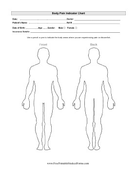 Body Map Template Printable Body Pain Indicator Chart Body Map Template