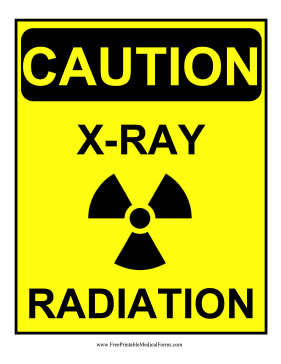 sign decorated with a radiation symbol this yellow caution sign ...