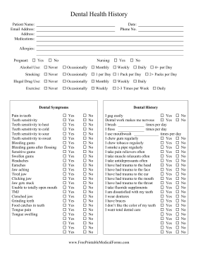 Printable Dental Health History Sheet