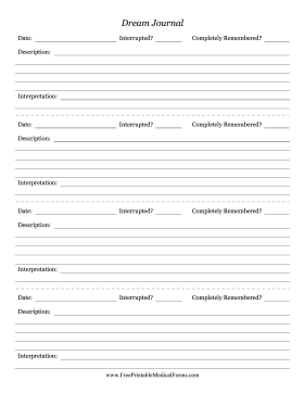 Dream Journal Medical Form  Free Journal Templates