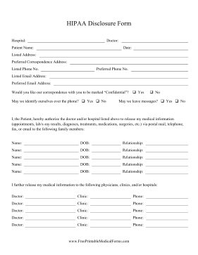 Printable HIPAA Disclosure Form on blank hipaa authorization form, hipaa compliance forms, hipaa-compliant medical authorization form, hipaa certificate form, hipaa forms for employees, hipaa forms for medical offices, hipaa authorization form template, hipaa compliance medical record release,