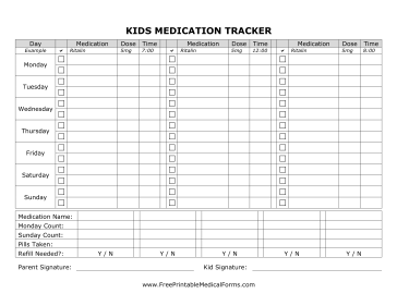 Printable kids medication tracking form for Medication signing sheet template