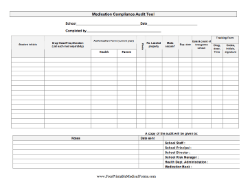 Printable Medication Compliance Audit Tool