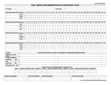 Printable daily medication administration for school year for Mar template nursing