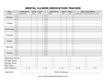 Printable mental illness medication tracking form for Patient tracking template