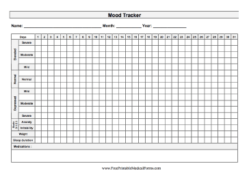 image regarding Printable Mood Tracker named Printable Temper Tracker