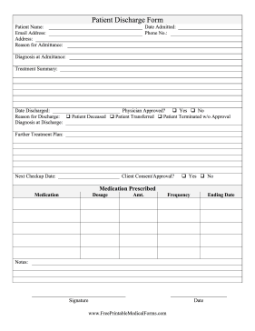 printable hospital discharge forms Printable Patient Discharge Form