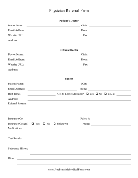 Printable physician referral form for Referral document template