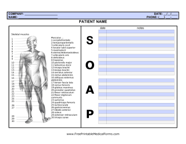 Printable Soap Note With Body