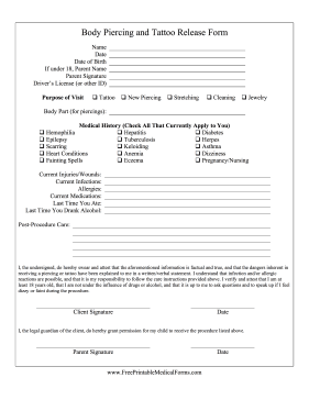 Printable tattoo piercing release for Tattoo release form template
