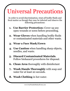 Sensational Printable Universal Precautions Sign Download Free Architecture Designs Scobabritishbridgeorg