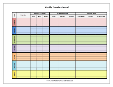 weekly exercise journal color medical form