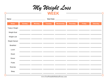 Weekly Weight Loss Tracker Colorful Medical Form